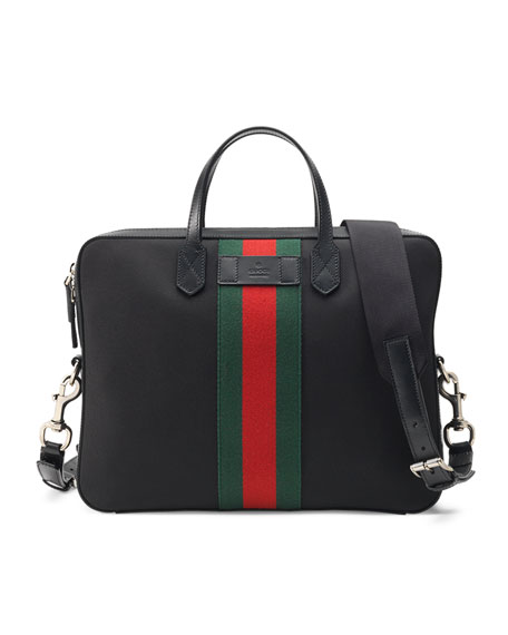 GucciWeb Canvas Slim Briefcase, Black