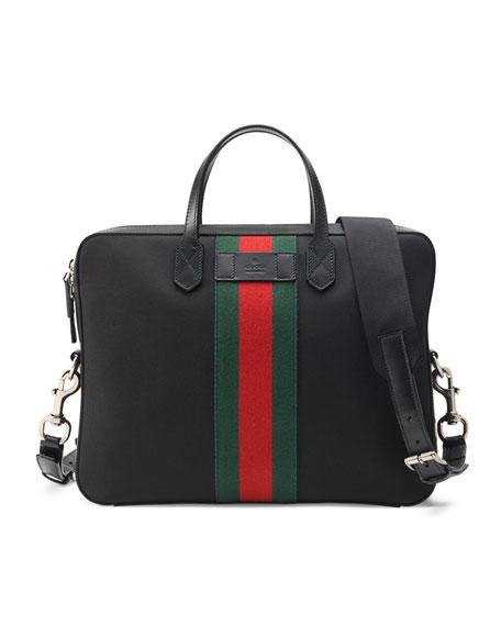 GucciWeb Canvas Slim Briefcase, Black