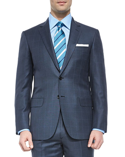 Super 150s Wool Windowpane Suit, Blue