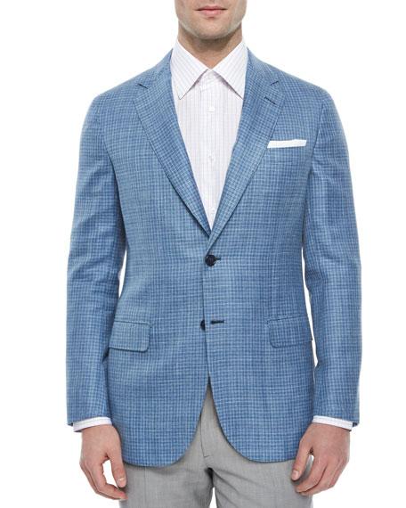 Brioni Check Two-Button Jacket, Light Blue