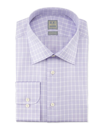 Textured Box-Check Woven Dress Shirt, Tulip
