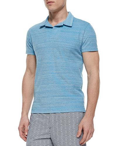 Felix Johnny-Collar Polo Shirt, Navy