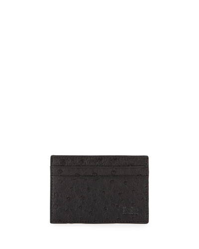Ostrich Card Case, Black