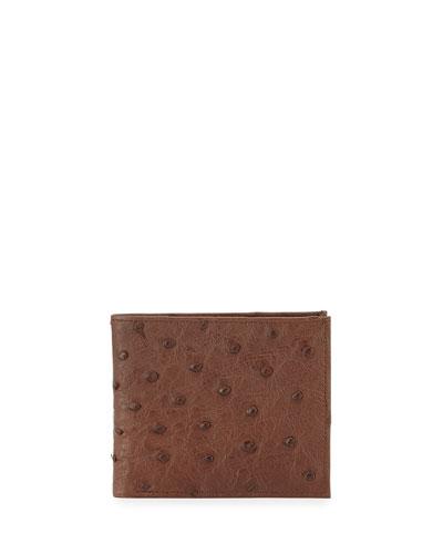 Ostrich Bi-Fold Wallet, Brown