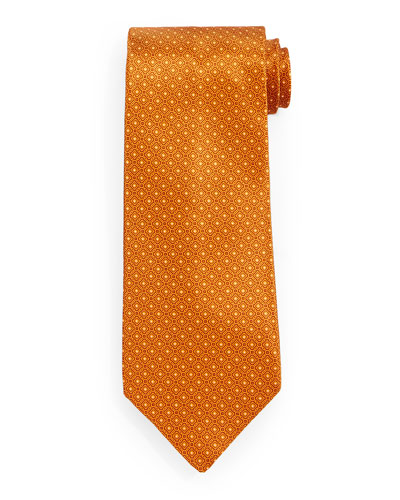 Neat Square-Pattern Silk Tie, Gold
