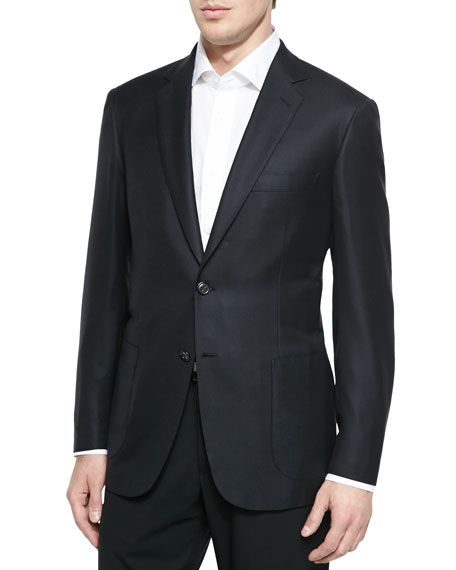 Brioni Wool Twill Blazer Jacket, Black