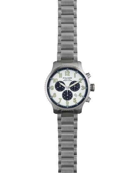 43mm Mackinaw Field Chrono Watch with Link Bracelet, White