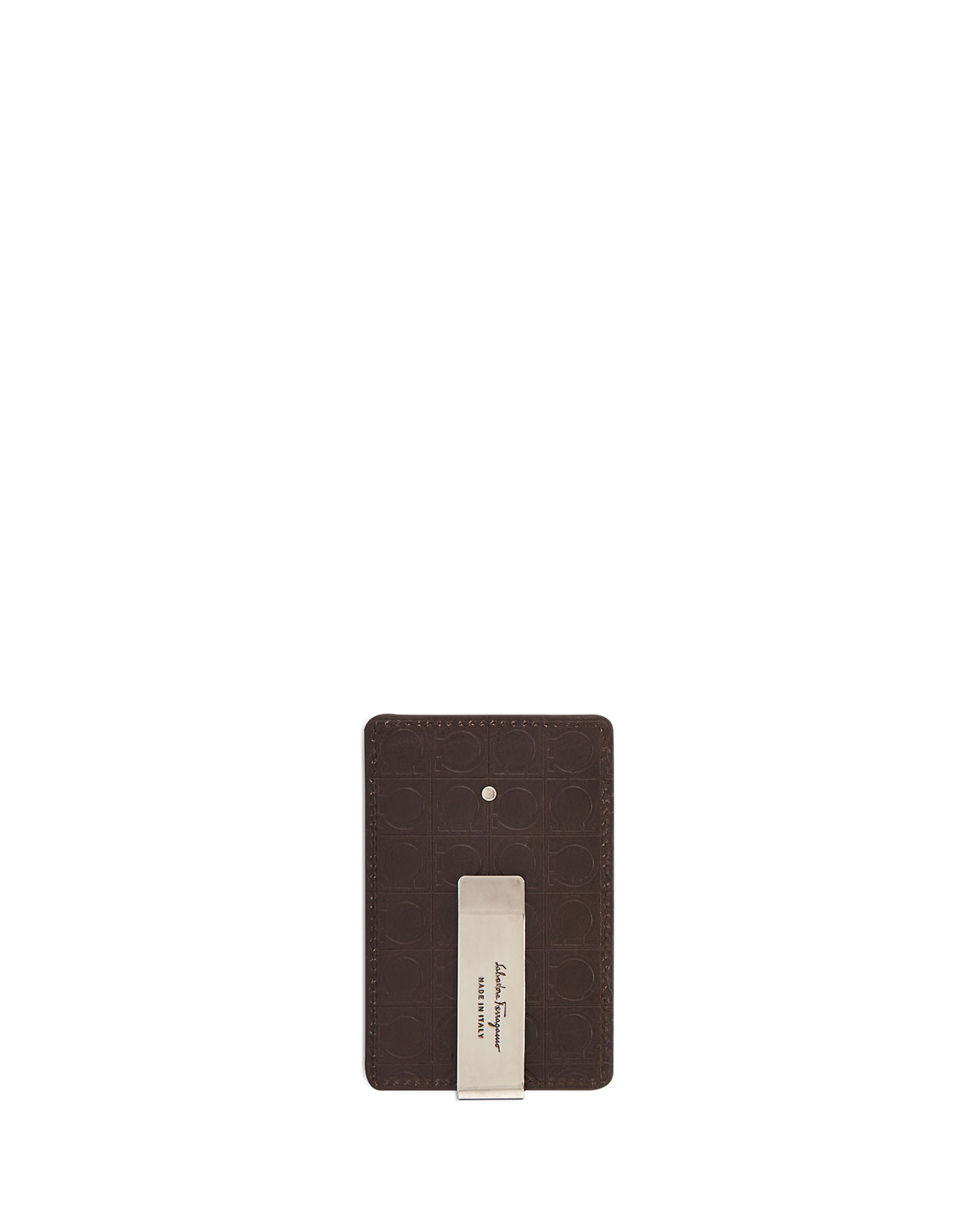 newest 4dae7 3d967 Logo-Embossed Leather Card Case with Money Clip, Brown