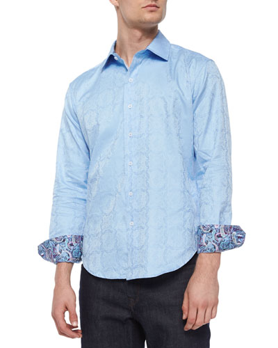 Salisbury Tonal-Paisley Sport Shirt, Light Blue