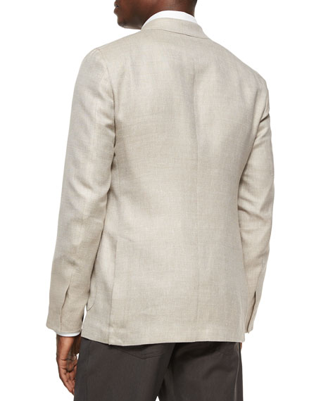Ermenegildo Zegna Two-Button Blend-Linen Blazer, Tan