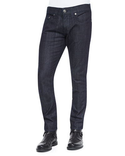 Rocco Dark Wash Straight Denim Jeans, Dark Blue