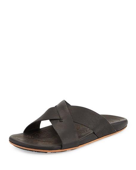Olukai Punono Crisscross Slide Sandal, Black