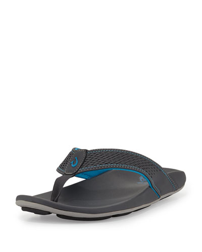 Kekoa Perforated Thong Sandal, Dark Gray