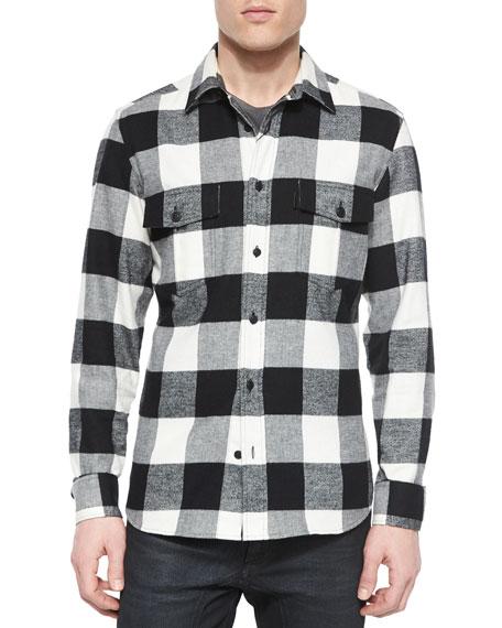 Belstaff Wilsden Check Print Flannel Shirt Black White