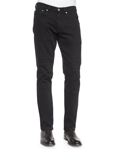 Harpton Raw-Stretch Moto Jeans, Black