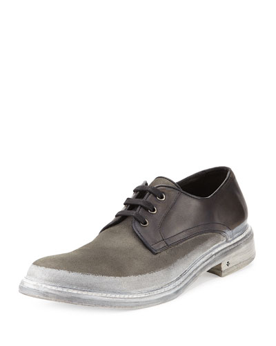 College Leather/Canvas Derby Shoe, Dark Gray