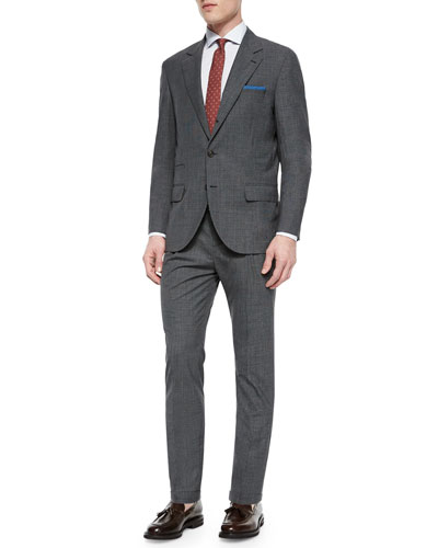 Houndstooth Two-Piece Wool Suit, Charcoal