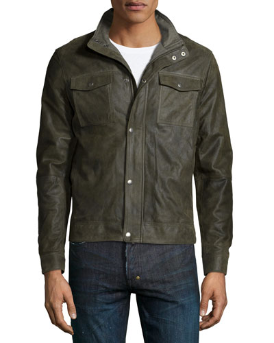 Utility-Pocket Leather Bomber Jacket, Olive