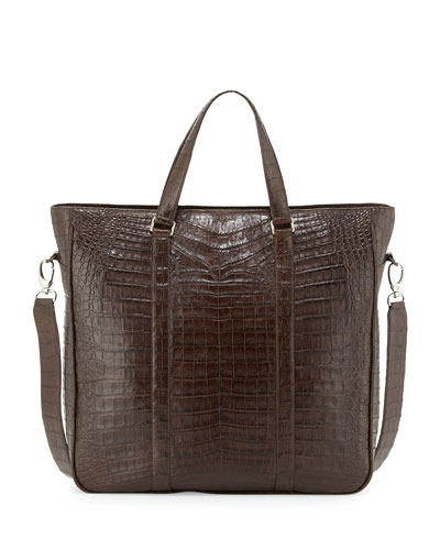 Crocodile Zip-Top Tote Bag, Chocolate