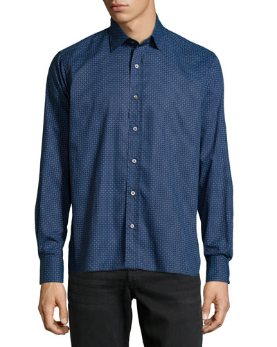 Patterned Sport Shirt, Blue
