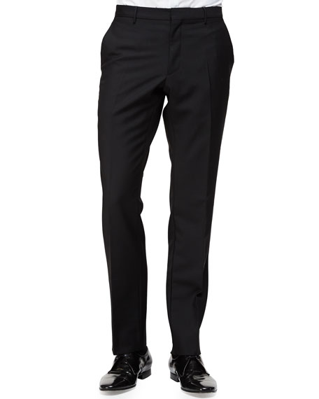 Burberry Flat-Front Wool/Mohair Trousers, Black