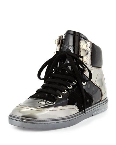 Bradley Men's Metallic High-Top Sneaker, Gunmetal