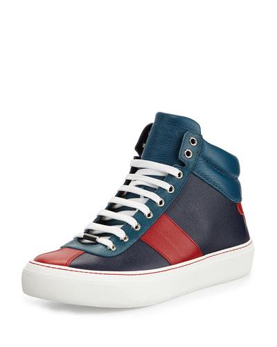 Belgravia Men's Saffiano High-Top Sneaker, Blue/Red/Marine
