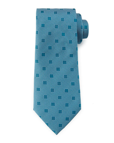 Squares Over Pin-Dot Tie, Teal/White