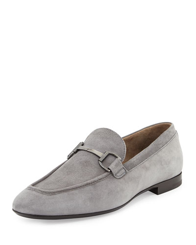 Suede Bit-Strap Loafer, Gray