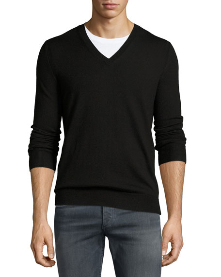Burberry Dockley Wool V-Neck Sweater, Black