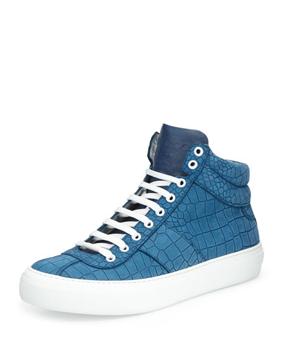 Belgravi Men's Croc-Embossed High-Top Sneaker, Blue