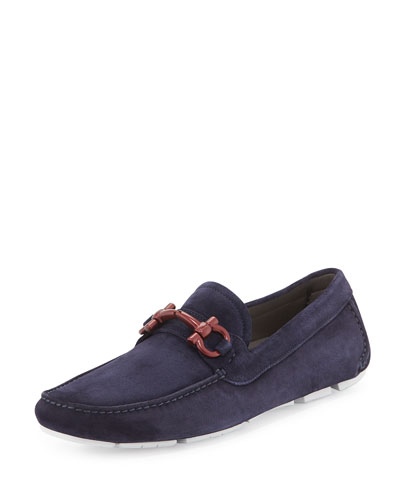 Suede Driving Shoe, Navy