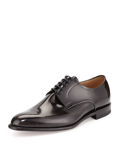 Brushed Leather Lace-Up Oxford, Nero