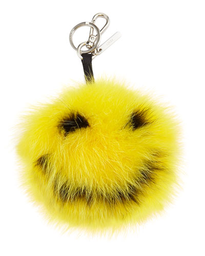 Happy Fur Monster Charm For Bag, Yellow
