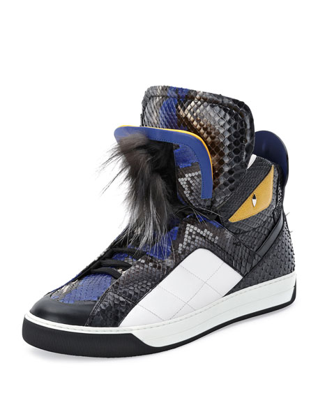 FendiMonster Python Leather High-Top Sneaker