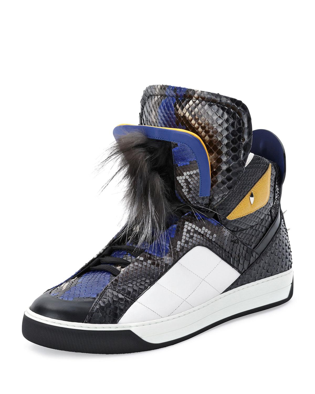 6dde5941f280 Fendi Men s Monster Python Leather High-Top Sneakers