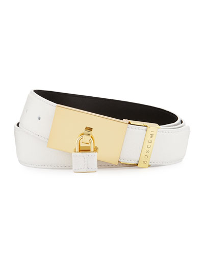 Padlock-Buckle Leather Belt