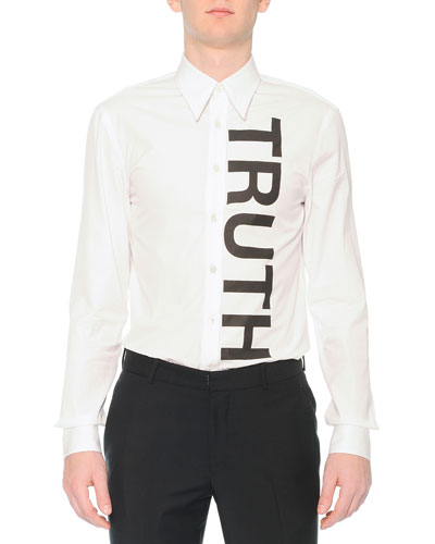 Truth-Printed Woven Sport Shirt, White