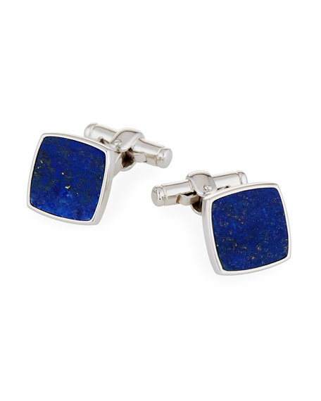 dunhill Sterling Silver Lapis Square Cuff Links