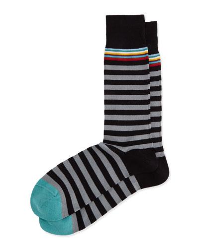 Multi 2 Stripe Socks, Black