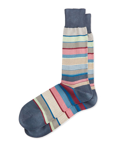 Bold Stripe Socks, Gray