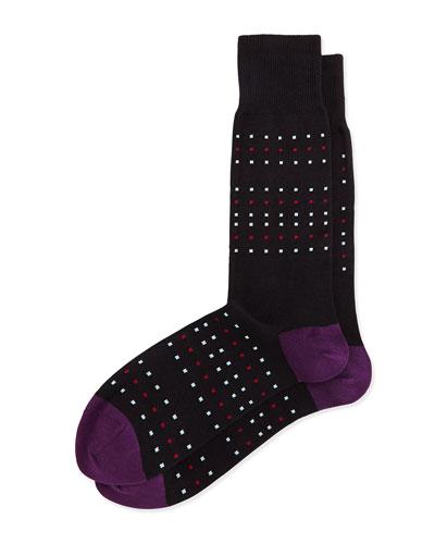 Dot-Stripe Socks, Black