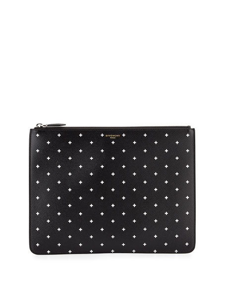 Givenchy Cross-Print Leather Pouch, Black