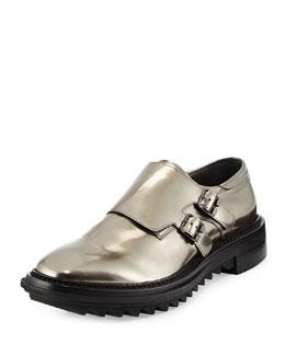 Shiny Double-Monk Strap Shoe, Gunmetal
