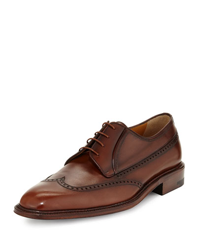 Calfskin Lace-Up Wing-Tip Derby, Caramel