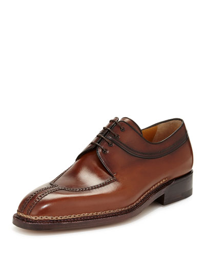 Raised-Stitch Lace-Up Derby, Caramel