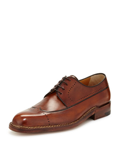 Perforated Leather Lace-Up Derby, Caramel