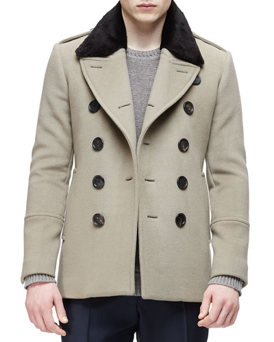Double-Breasted Pea Coat with Removable Fur Collar, Taupe