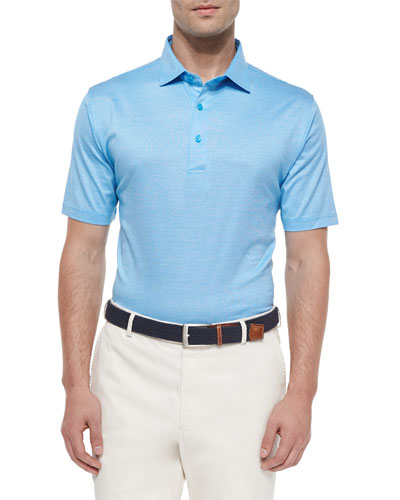Rodeo Stripe Lisle Polo Shirt, Blue