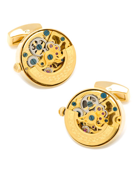 Golden Watch Movement Cuff Links